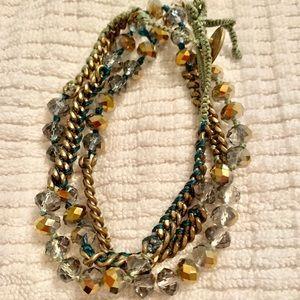 Bead & Chain Multi-wrap bracelet, green